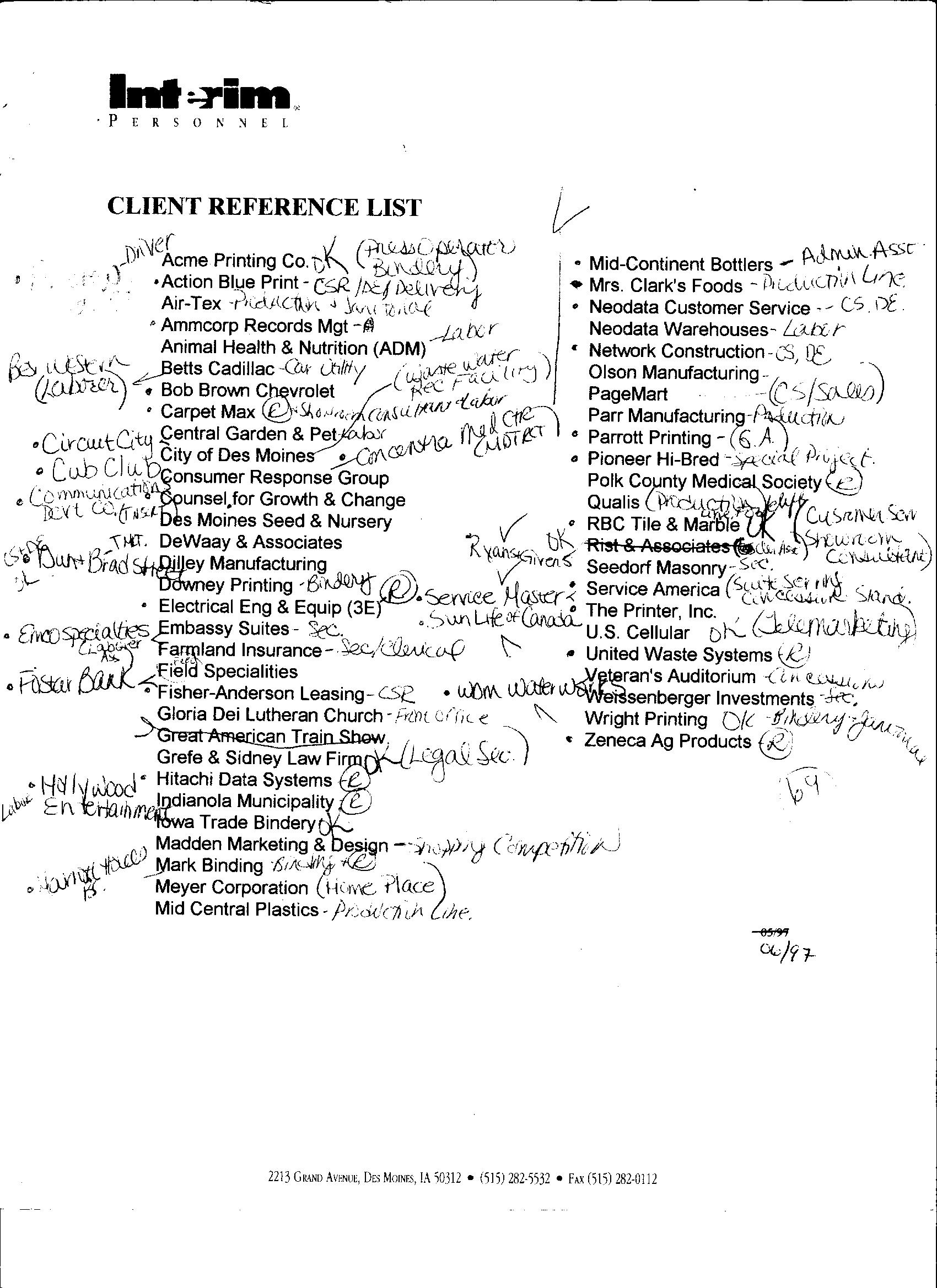 Client Reference List