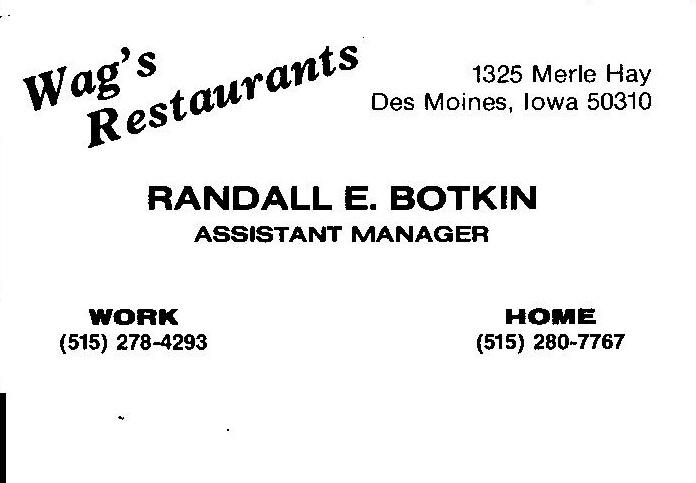 Wag's Restaurants Business Card