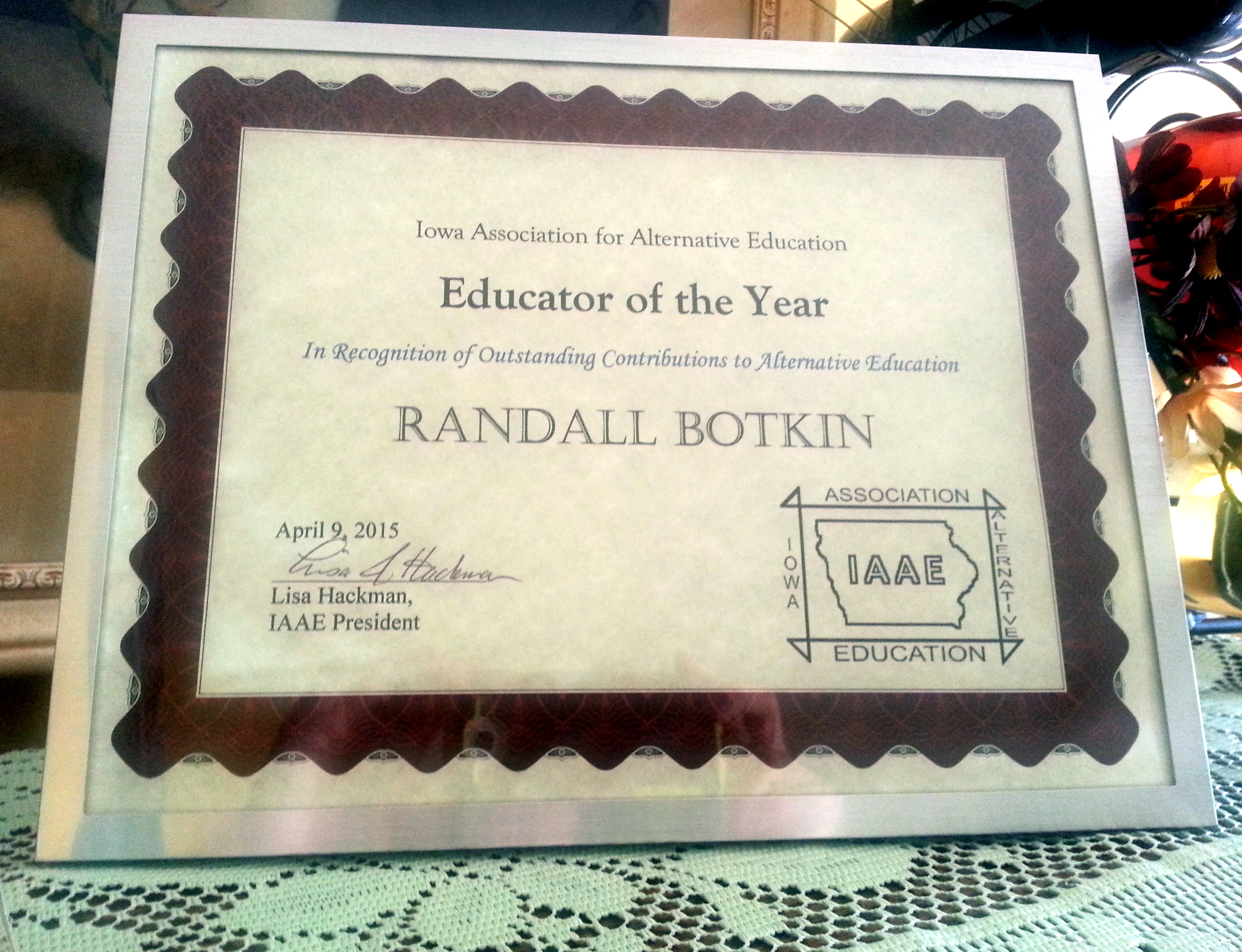 IAAE Educator of the Year 2015 Goes to Mr. B!