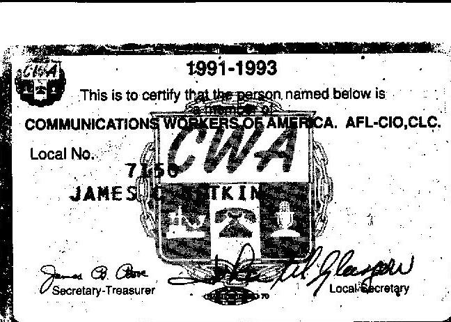 James Botkin Union Card